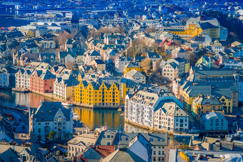 Beautiful outdoor view of colorful buildings from the mountain Aksla at the city of Alesund, Norway.  royalty free stock photos