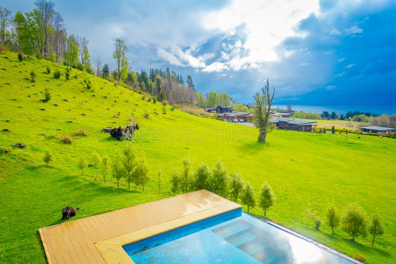 Beautiful outdoor view of infinity swimming pool with a gorgoues green grassland and lake in the horizont located at. Pucon city, Chile royalty free stock photo