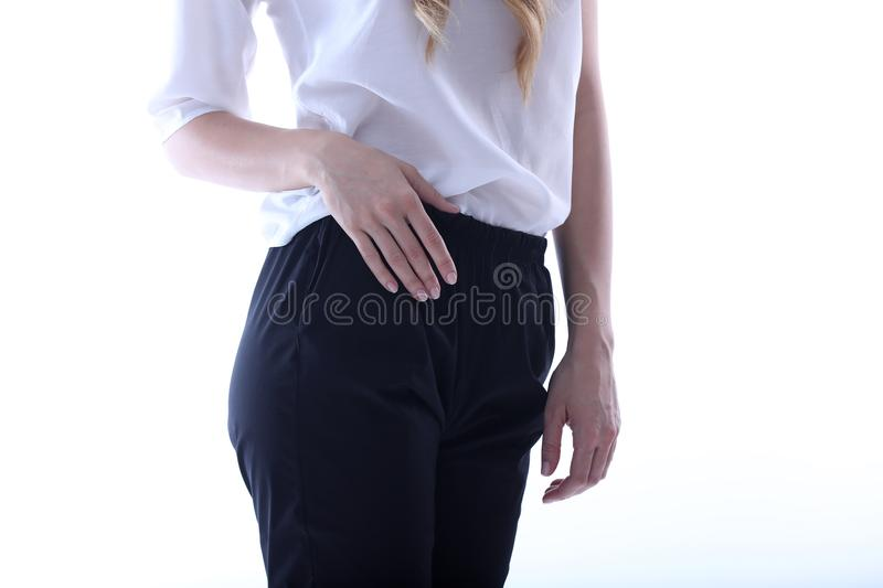 Beautiful outfit, white background stock photos