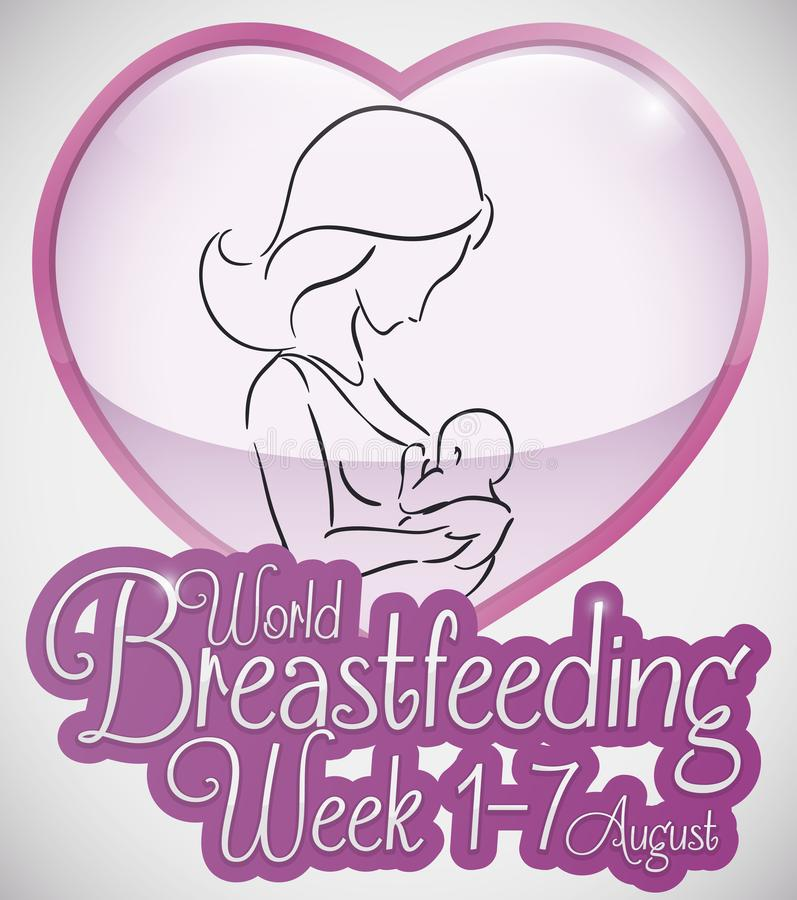 Heart with Mother and her Baby for World Breastfeeding Week, Vector Illustration. Beautiful outline silhouette design with loving mom breastfeeding her baby stock illustration