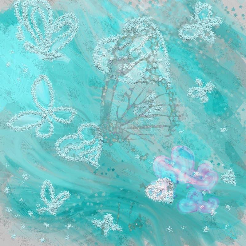 Free Beautiful Overflowing Blue, Grey Watercolor Butterflie, Hearts And Butterflies, Field Flowers On Grey Background Stock Photo - 173099430