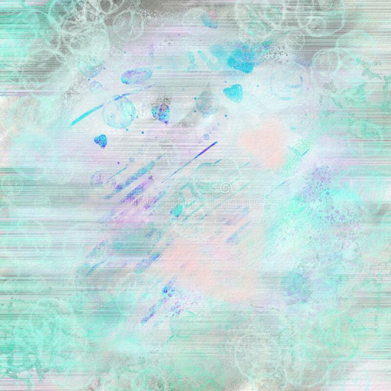 Beautiful overflowing watercolor hearts swirls, ripples, strikes  in bright and light blue, pink and purple colors. Fine Lace and  Cobweb. A graceful stock image