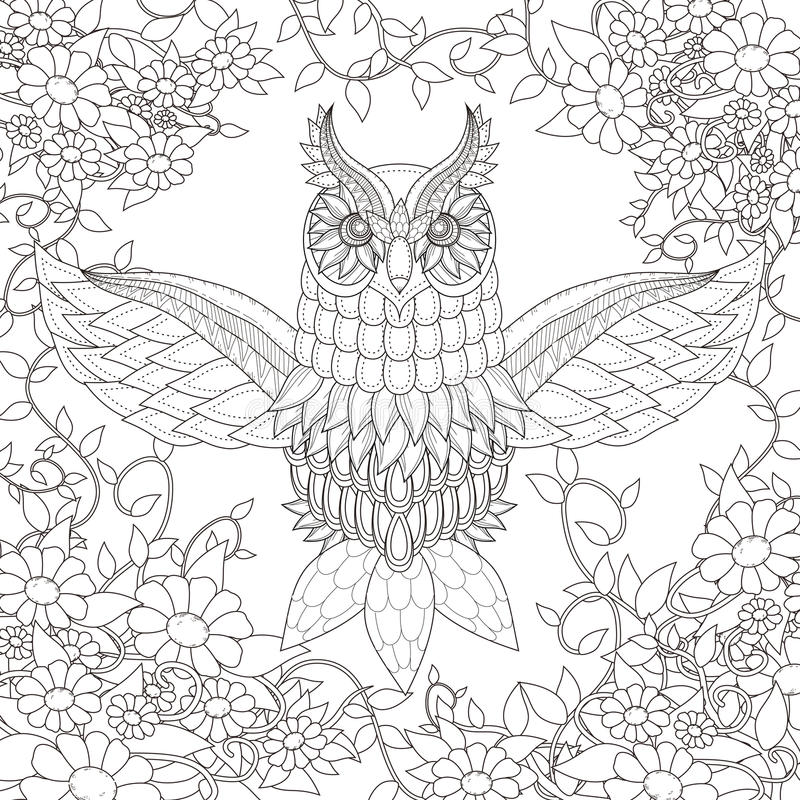Beautiful owl coloring page stock illustration