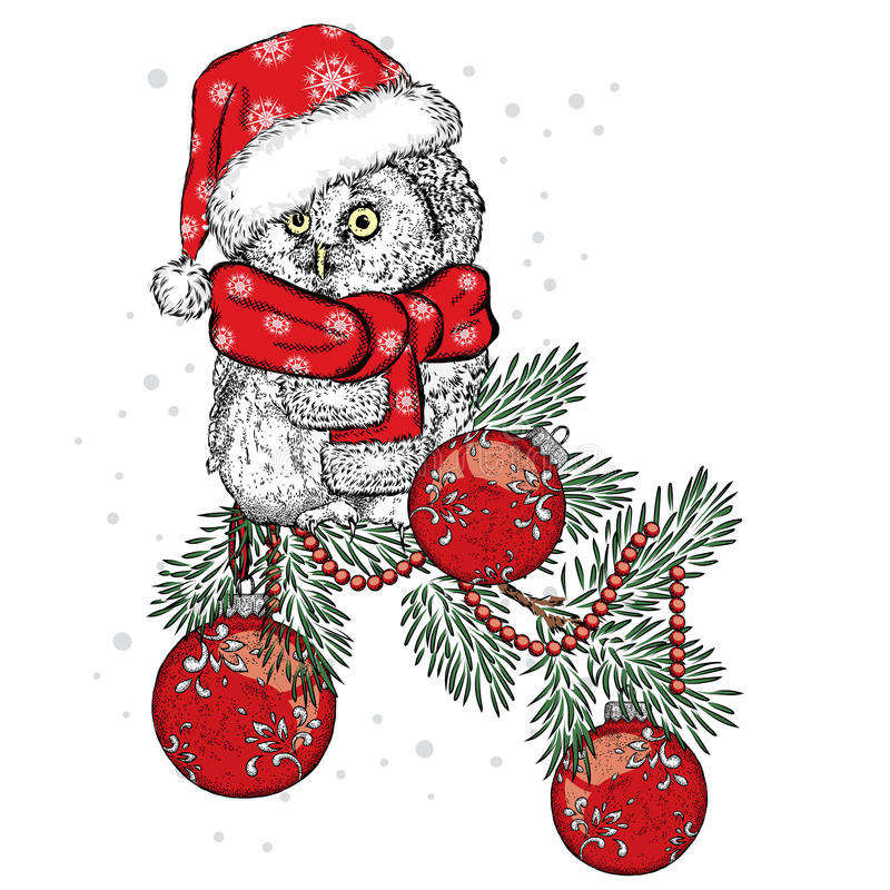 Beautiful owl wearing a scarf. Bird on a branch Christmas decorations. New Year`s and Christmas. stock illustration