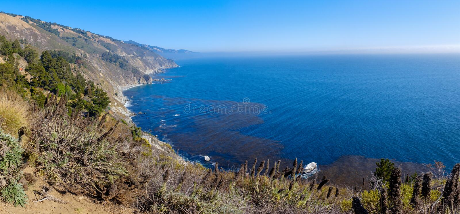 Beautiful Pacific coastline in California. Alongside the famous Highway 1 in California, USA royalty free stock photos