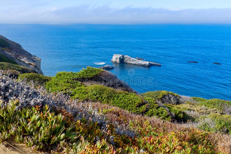 Beautiful Pacific coastline in California. Alongside the famous Highway 1 in California, USA royalty free stock photography