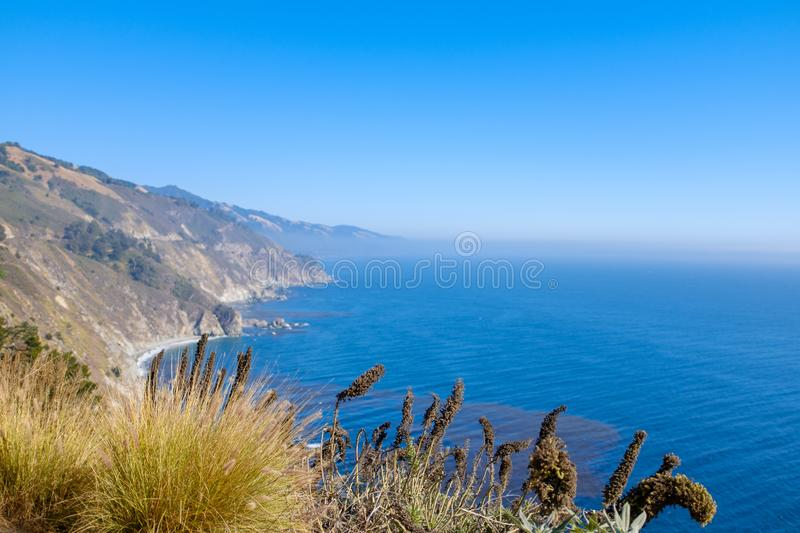 Beautiful Pacific coastline in California. Alongside the famous Highway 1 in California, USA royalty free stock photo