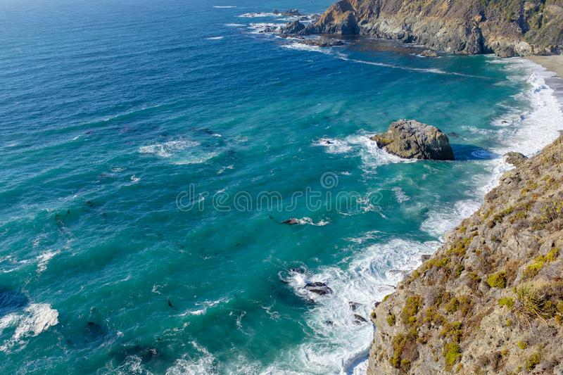 Beautiful Pacific coastline in California. Alongside the famous Highway 1 in California, USA royalty free stock image