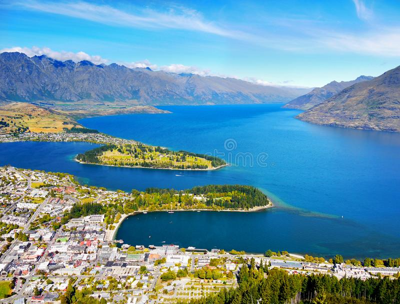 Beautiful Pacific Islands, Oceania, New Zealand. New Zealand - South Island - Queenstown. Beautiful mountains landscape scenery with blue lake. Pacific Islands stock images