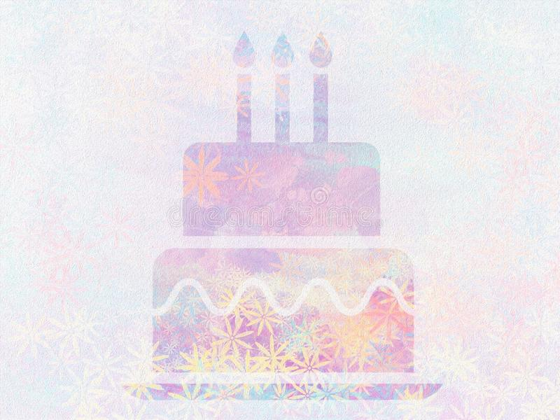 Beautiful painted birthday cake and candles shape Surface design abstract wallpaper. vector illustration