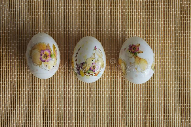 Painted chicken eggs. Easter egg. Beautiful painted chicken eggs. Easter egg. festive meal. the symbol of Easter stock images