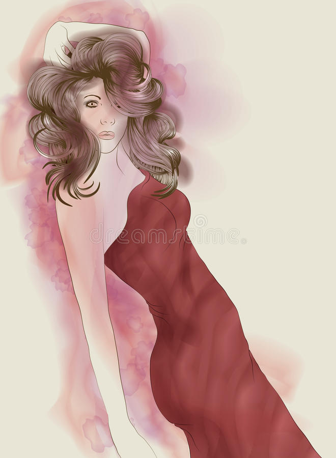 Beautiful Painted Fashion Illustraiton Woman Stock Image