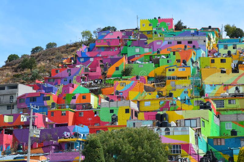Amazing Colorful houses Pachuca Mexico. Beautiful painted houses in Pachuca Hidalgo in Mexico, bright and colorful royalty free stock image