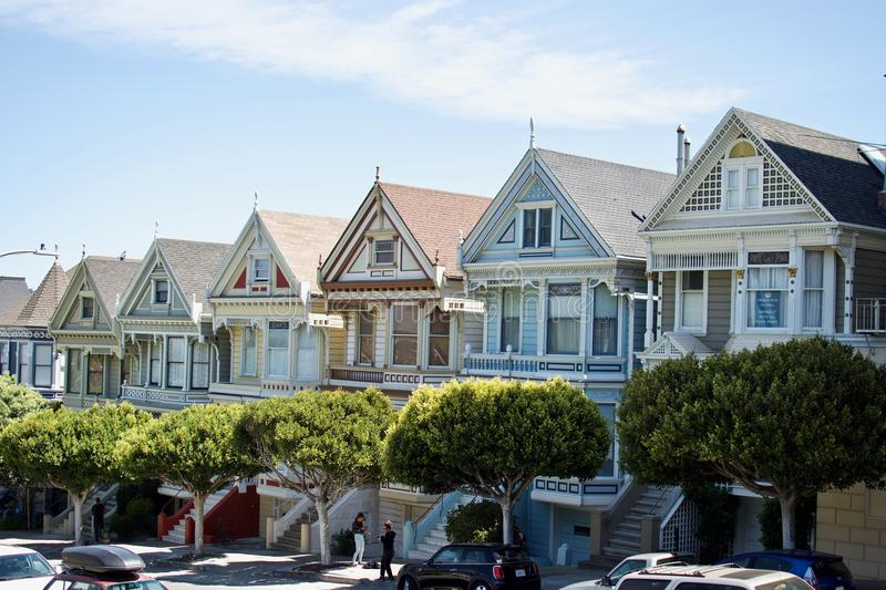The beautiful Painted Ladies in San Francisco, California. A portrait of the famous Painted Ladies in San Francisco, California stock photography