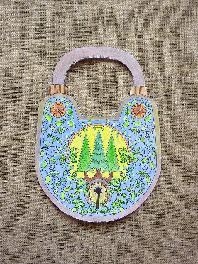 Lock done from paper and colored with different colors royalty free stock images