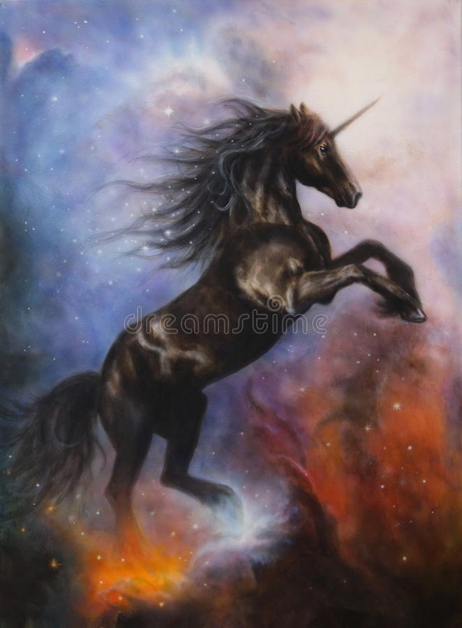 Beautiful painting of a black unicorn dancing in space stock illustration