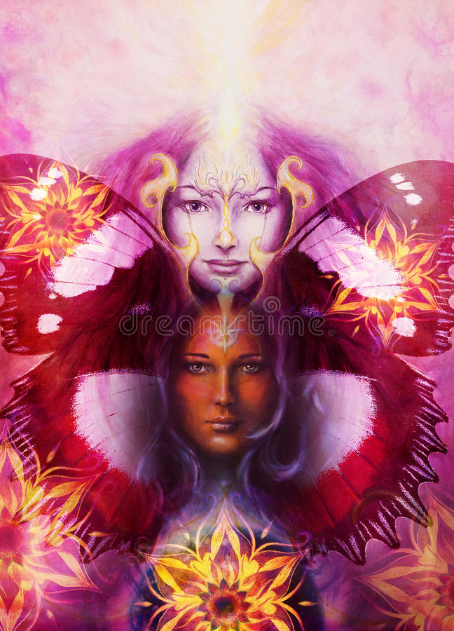 Beautiful Painting Goddess Woman with bird phoenix. On your face with ornamental mandala and butterfly wings and color abstract background and eye contact vector illustration