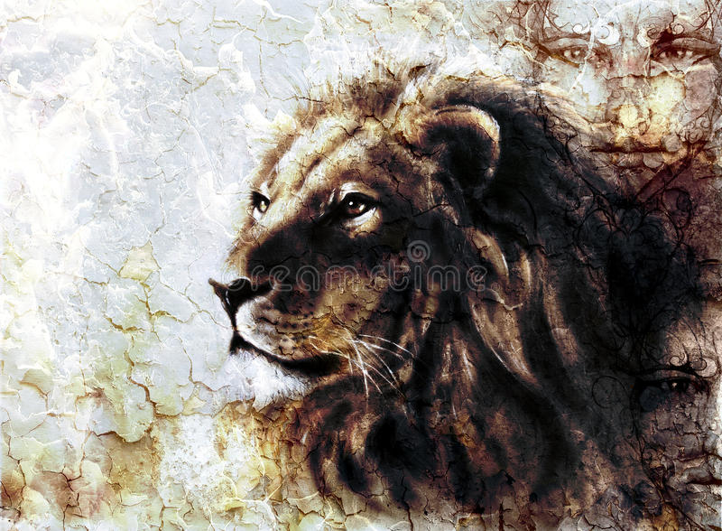 Beautiful painting of a lion head and mystic faces with a majesticaly peaceful expression desert pattern. royalty free illustration