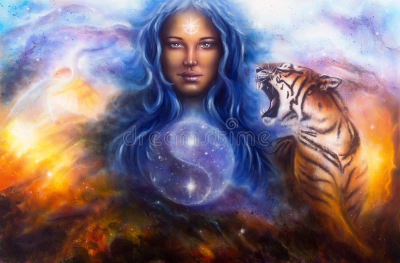 Beautiful painting oil on canvas of a woman guarding a sacred ba royalty free illustration