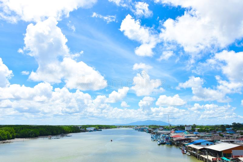 Beautiful Pak nam prasae rayong beach. Natural mangrove forest view in the Rayong bay Thailand. Nature Preserve in Klaeng Foursqua. Re. Thung Thong Pak Nam stock photography