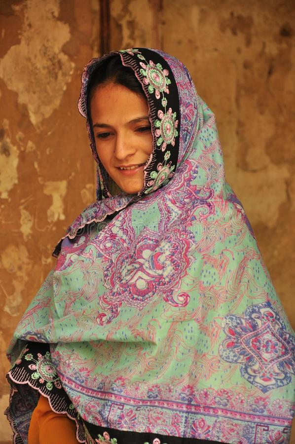 Beautiful Pakistani women from Balochistan stock image
