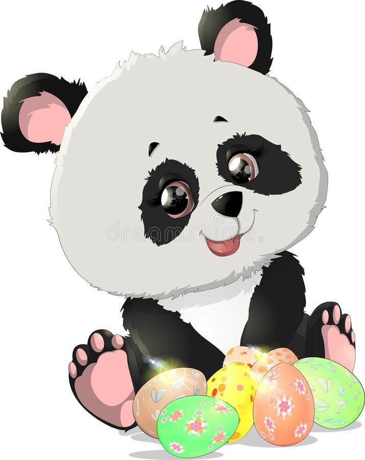 Cute Panda bear illustrations royalty free illustration