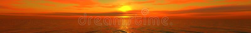 Beautiful panorama. Calling at sun on sea stock image