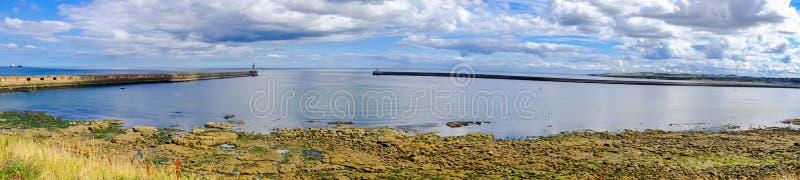 Beautiful panorama around Tynemouth Piers and lighthouses. Beautiful panoramas around Tynemouth Piers and lighthouses, Tynemouth, UK stock photography