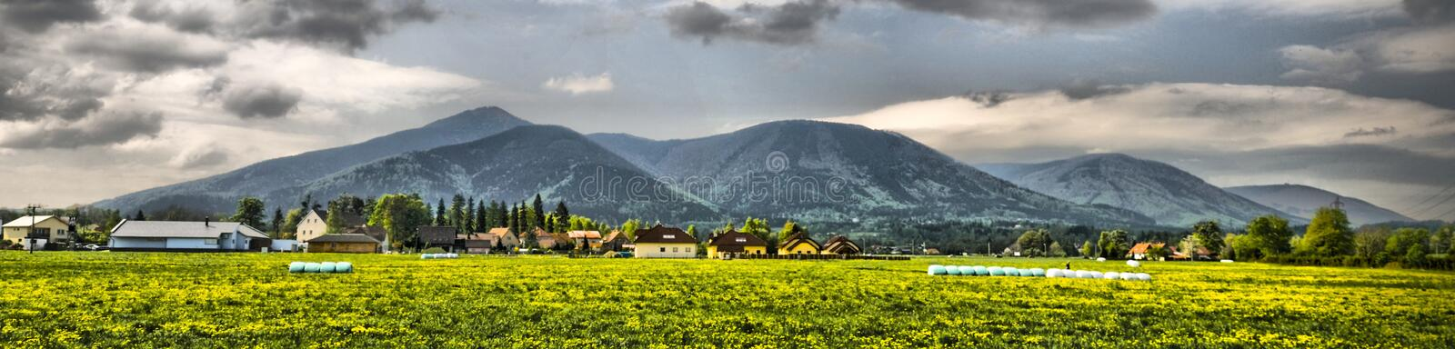 Beautiful panorama from Beskydy, Czech republic stock photos