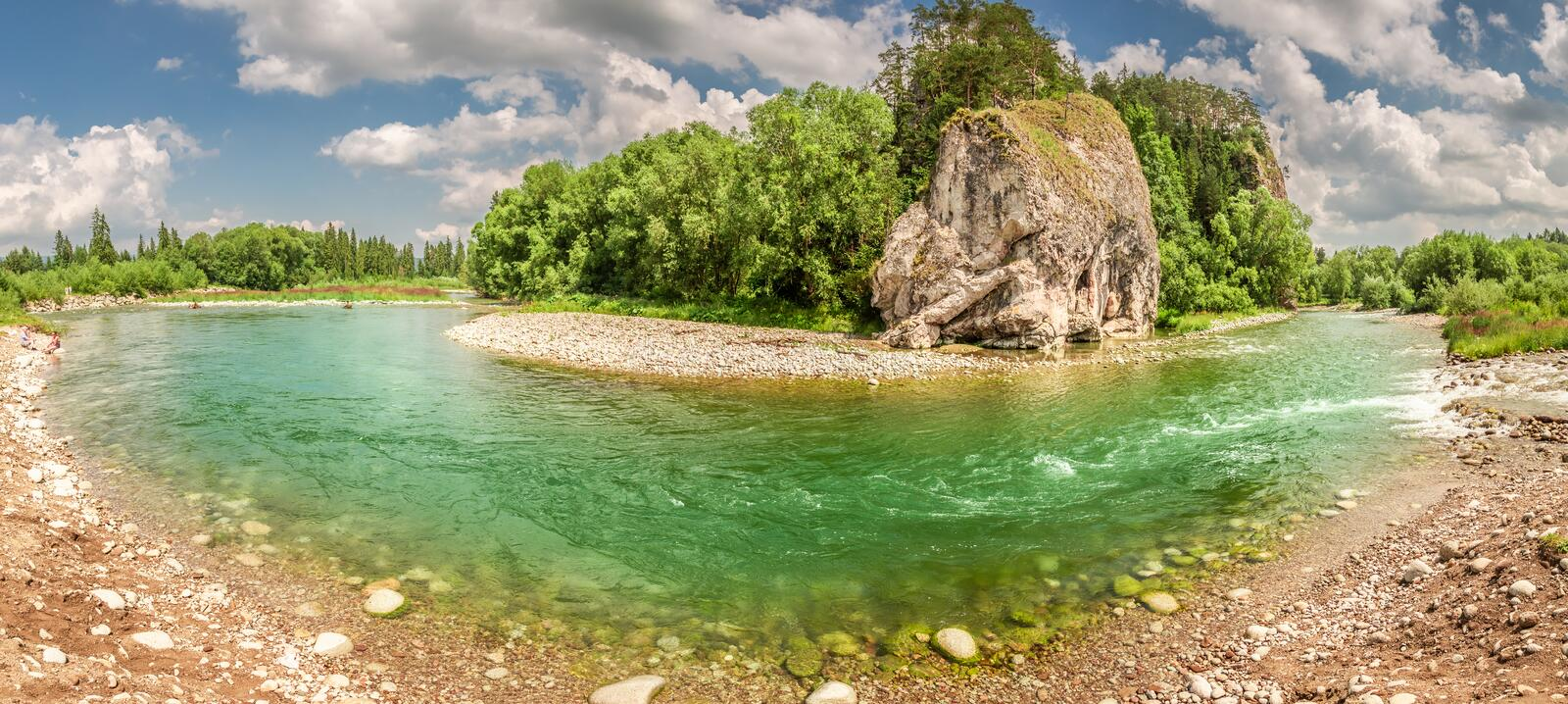 Beautiful panorama of Bialka River in the pieniny mountains. Europe royalty free stock photo