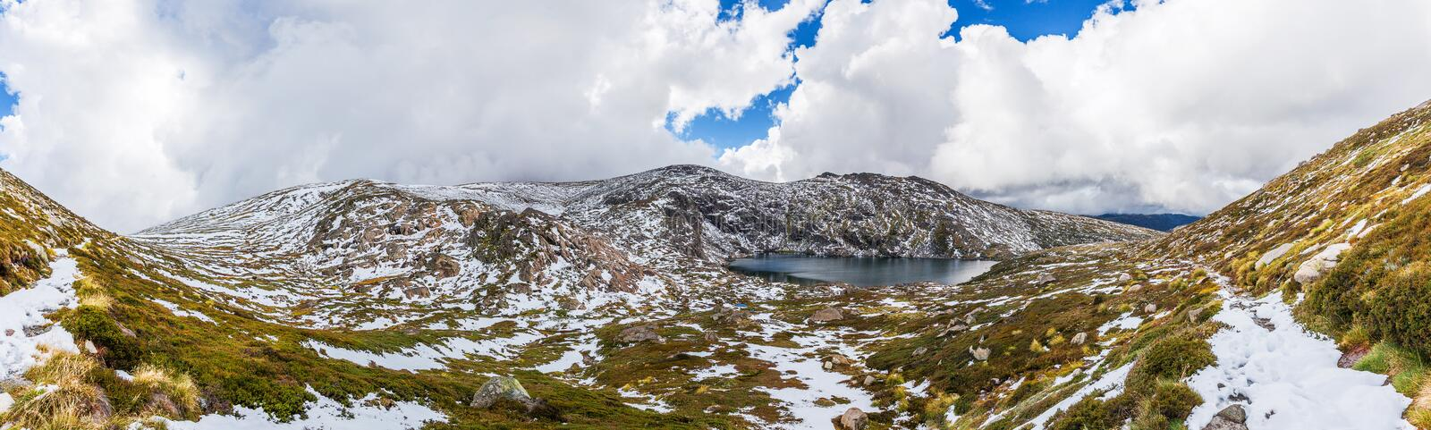 Beautiful Panorama of Blue Lake and snow covered mountains. Kosciuszko National Park, Australia royalty free stock images