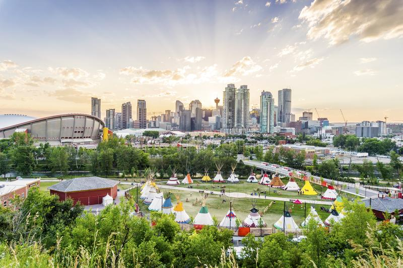 Beautiful panorama of Calgary, Alberta, Canada. Beautiful skyline of Calgary during Stampede at sunset, Alberta, Canada royalty free stock photography