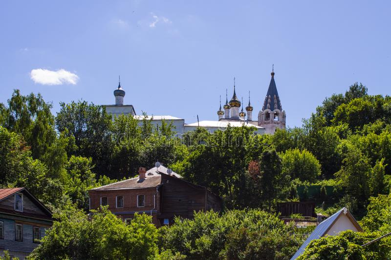 Panorama of Gorokhovets in Russia on a clear summer day. Beautiful panorama of Gorokhovets in Russia on a clear summer day with the horizon and blue sky royalty free stock image