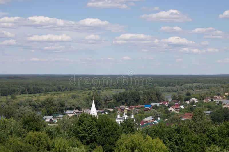 Panorama of Gorokhovets in Russia on a clear summer day. Beautiful panorama of Gorokhovets Russia on a clear summer day with sights stock images