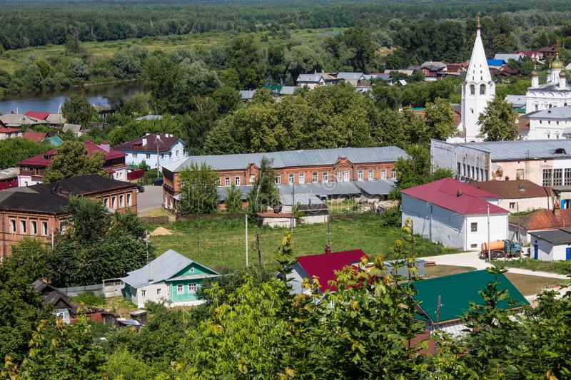 Panorama of Gorokhovets in Russia on a clear summer day. Beautiful panorama of Gorokhovets Russia on a clear summer day with sights royalty free stock photography
