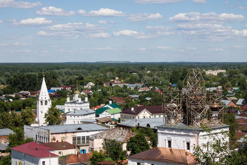 Panorama of Gorokhovets in Russia on a clear summer day. Beautiful panorama of Gorokhovets Russia on a clear summer day with sights stock photo