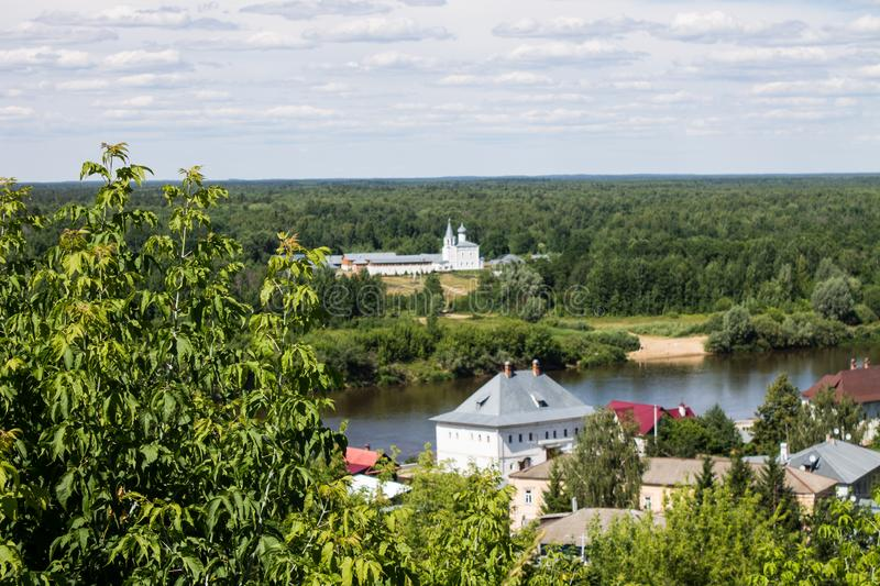 Panorama of Gorokhovets in Russia on a clear summer day. Beautiful panorama of Gorokhovets Russia on a clear summer day with sights royalty free stock photo