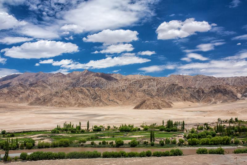 Beautiful panorama of green Indus valley near Leh city in Ladakh, India stock images