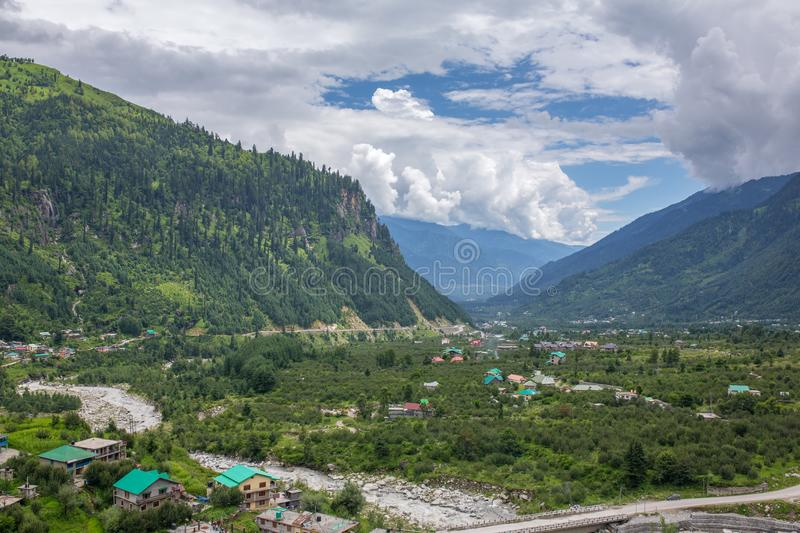 Beautiful panorama of green Kullu valley in Himachal Pradesh state. India royalty free stock photos