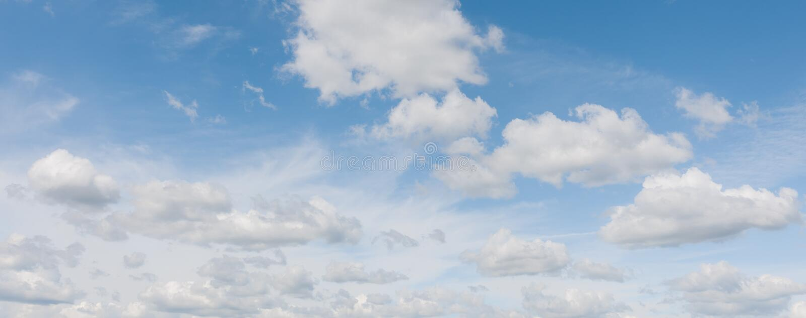 Beautiful panorama of light blue sky. Sky and clouds, qualitative shoot, no birds and noise. royalty free stock photography