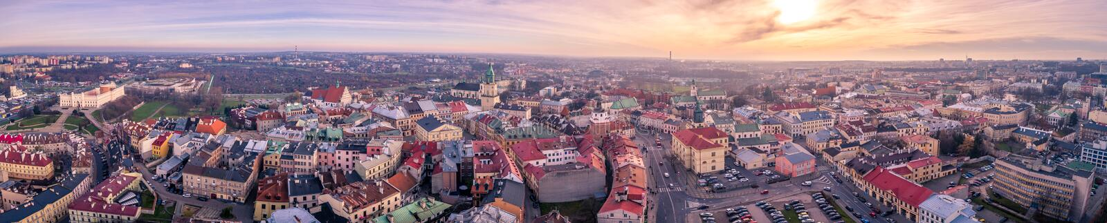 The beautiful panorama of Lublin stock photography