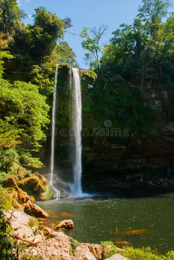 Panorama of Misol Ha waterfall near Palenque in Chiapas, Mexico royalty free stock photography