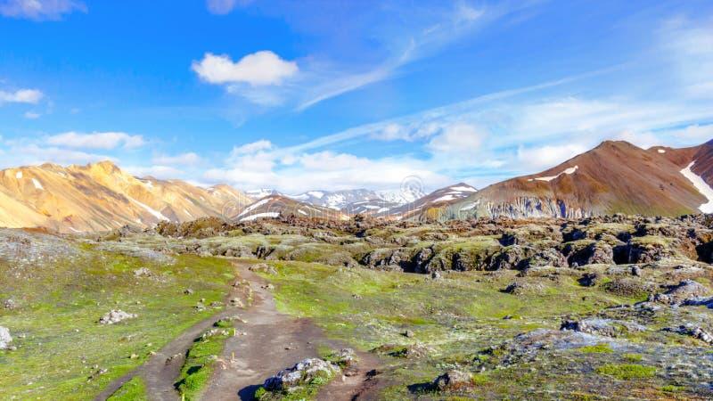 Beautiful panorama of Mountain landscape in Iceland. Landmannalaugar, Fjallabak Nature Reserve. royalty free stock images