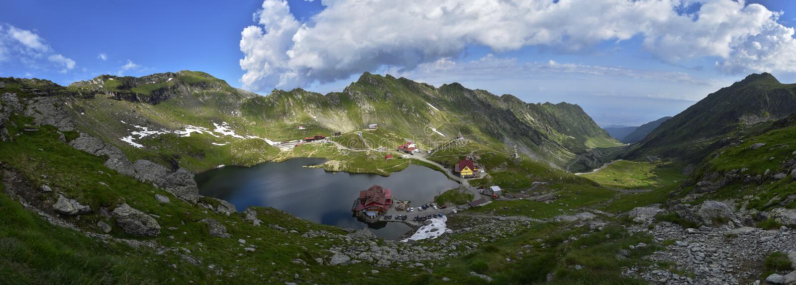 Beautiful panorama o Fagaras Mountains and Balea glacier lake. Beautiful panorama of Fagaras Mountains and Balea glacier lake,Romania, Transylvania region royalty free stock images