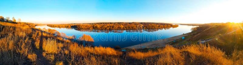 Beautiful panorama of the Oka river in the Kolychevo district, in the autumn day in November. Moscow region city of. Beautiful panorama of Oka river Kolychevo royalty free stock image
