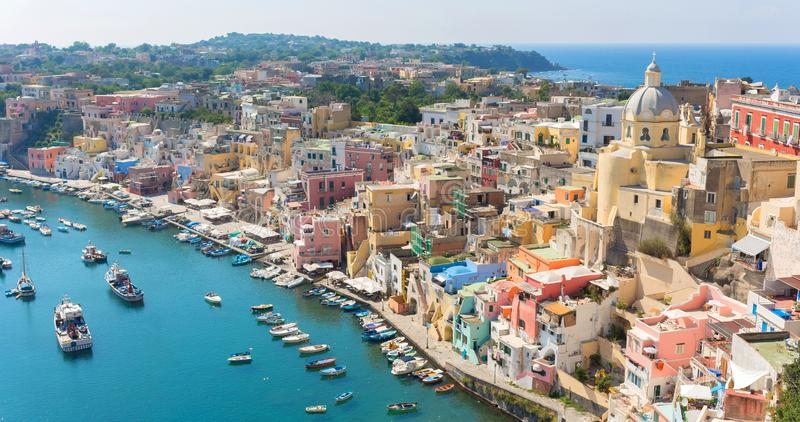 Beautiful panorama of Procida island a sunny summer day in Italy Campania royalty free stock photography