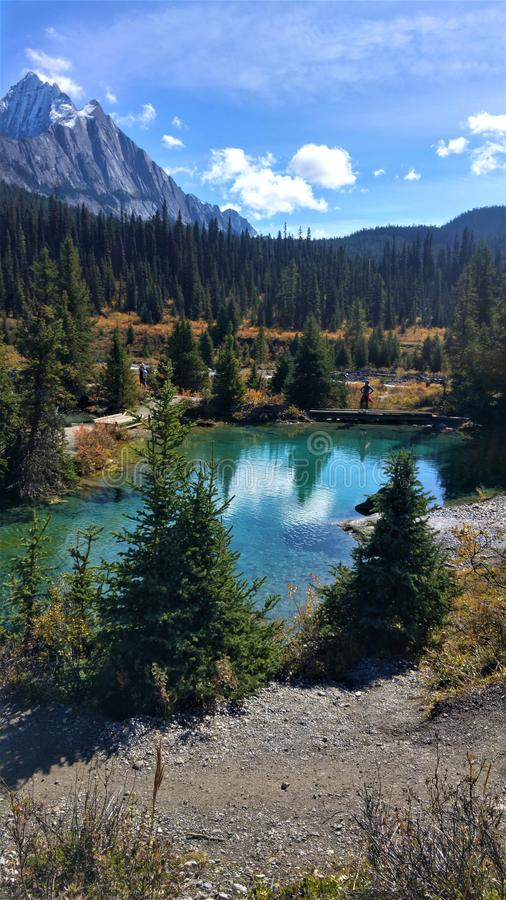 Beautiful panorama scenery in Banff Nationalparks Ink Pots, Canada. Hiking in the candian rocky mountains royalty free stock image