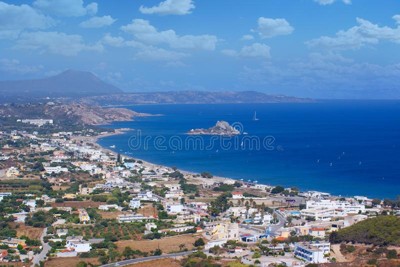 Beautiful Panorama with sea. Greece landscape. Beautiful Panorama with blue sea. Greece landscape/ Warm blue sea with boats stock images