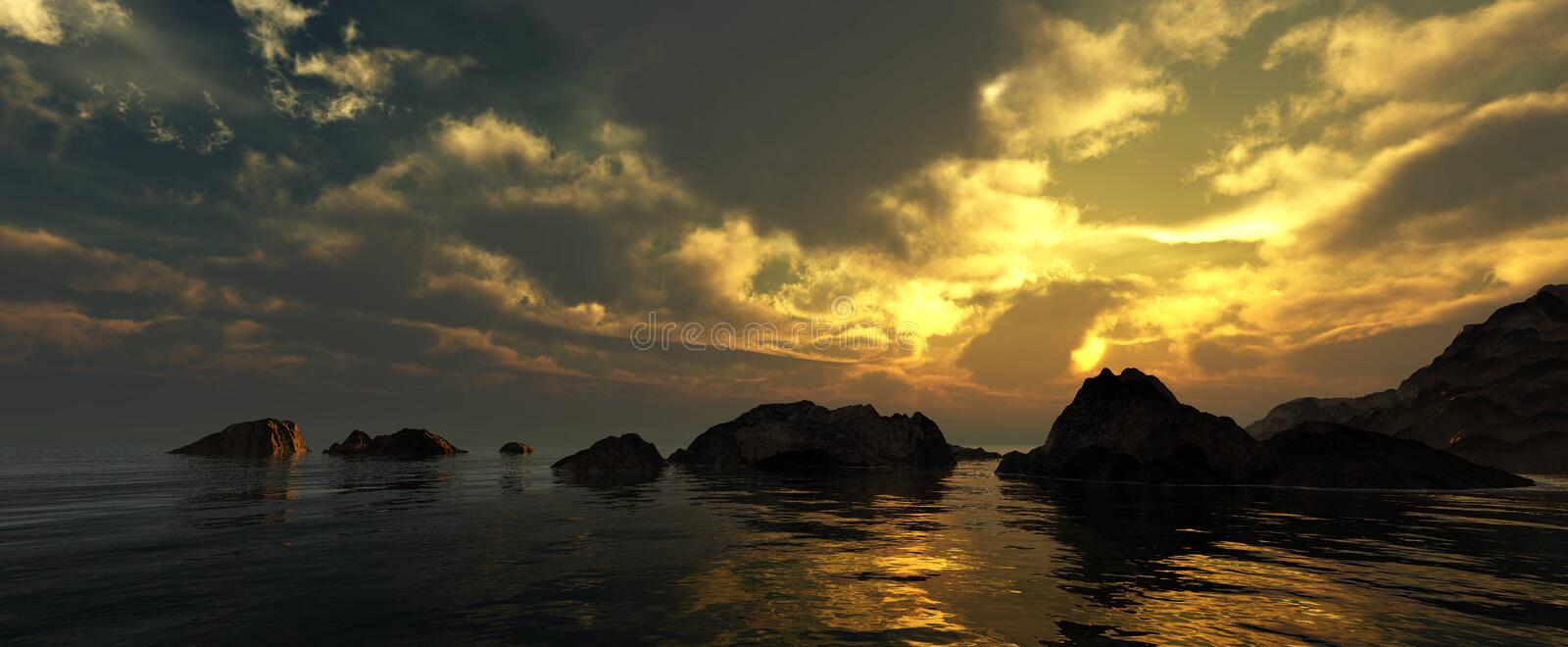 Beautiful panorama of the sea at sunset stock images