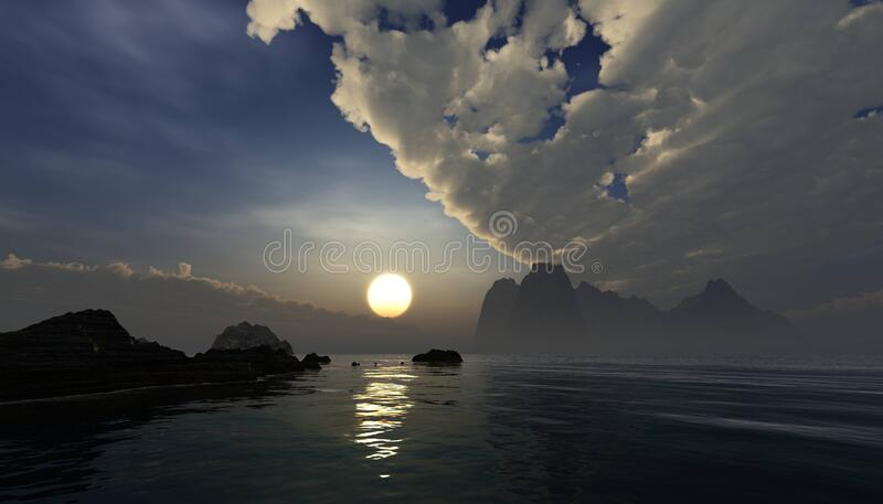 Beautiful panorama of the sea at sunset royalty free stock photo